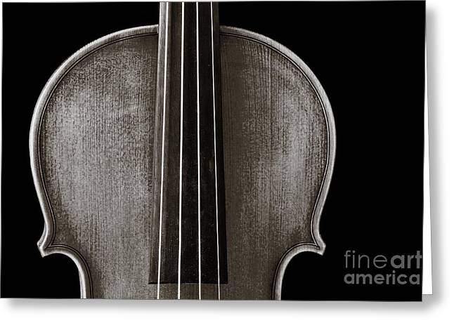 Still Life Photographs Greeting Cards - Photograph or Picture Violin Viola Body in Sepia 3367.01 Greeting Card by M K  Miller