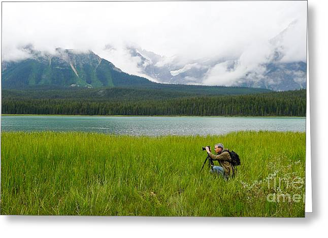 Canadian Rockies Greeting Cards - Photographer Edward M. Fielding in the Field Greeting Card by Caffrey Fielding