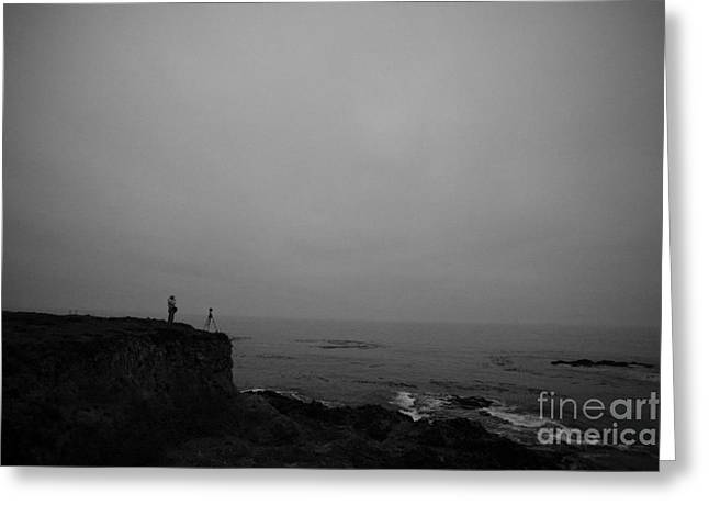 Solitariness Greeting Cards - Photographer on Edge of Cliff at Pacific Ocean Greeting Card by Jason O Watson