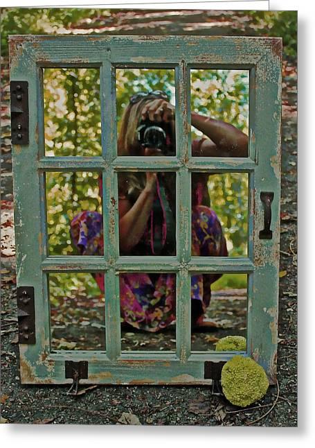 Self-portrait Greeting Cards - Photographer Self-Portrait  Greeting Card by Suzanne Stout