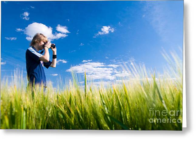 Amateur Photographer Greeting Cards - Photographer taking pictures Greeting Card by Michal Bednarek