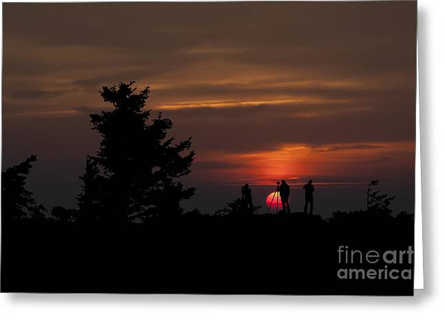 Photographers Shooting Sunrise At Bear Rocks Greeting Card by Dan Friend