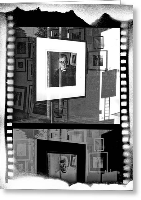 Woody Allen Greeting Cards - Photographic Artwork of Woody Allen in a Window Display Greeting Card by Randall Nyhof