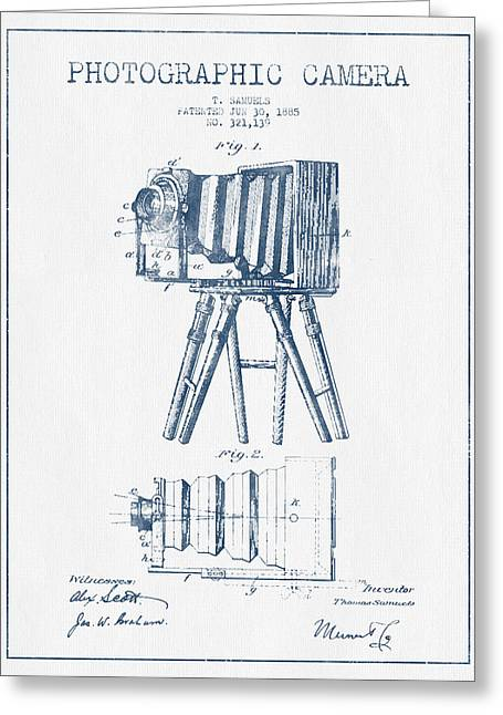 Camera Greeting Cards - Photographic Camera Patent Drawing from 1885- Blue Ink Greeting Card by Aged Pixel