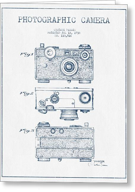 Camera Greeting Cards - Photographic Camera Patent Drawing from 1938- Blue Ink Greeting Card by Aged Pixel