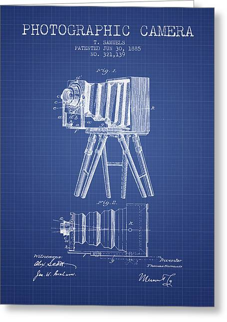 Famous Photographers Greeting Cards - Photographic Camera Patent from 1885 - Blueprint Greeting Card by Aged Pixel