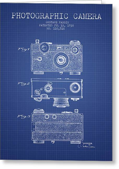 Famous Photographers Greeting Cards - Photographic Camera Patent from 1938 - Blueprint Greeting Card by Aged Pixel