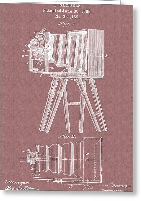 First-class Mixed Media Greeting Cards - Photographic Camera Patent On Canvas Greeting Card by Dan Sproul