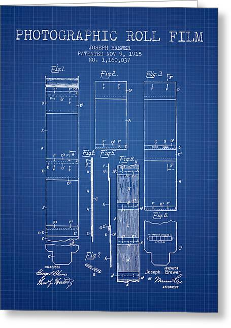 Famous Photographers Greeting Cards - Photographic roll film patent from 1915 - Blueprint Greeting Card by Aged Pixel