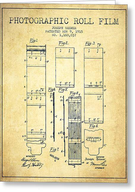 Famous Photographers Greeting Cards - Photographic roll film patent from 1915 - Vintage Greeting Card by Aged Pixel