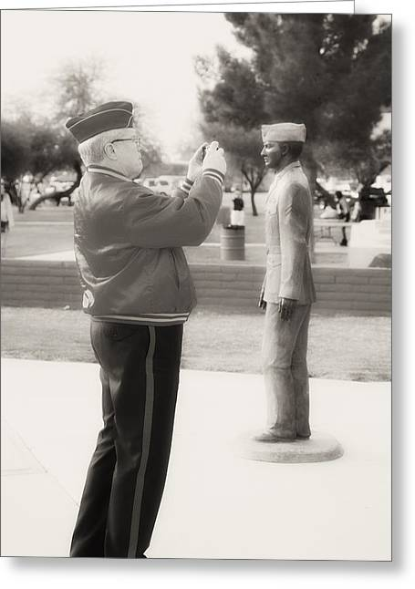 Photographing Ira Hayes Greeting Card by Hugh Smith