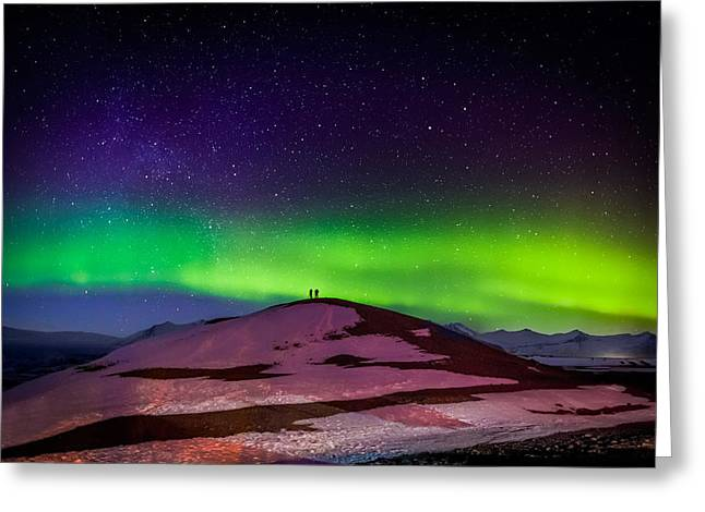 Color Green Greeting Cards - Photographing The Auroras And Icebergs Greeting Card by Panoramic Images