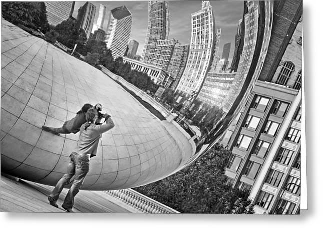 Stainless Steel Greeting Cards - Photographing the Bean - Cloud Gate - Chicago Greeting Card by Nikolyn McDonald