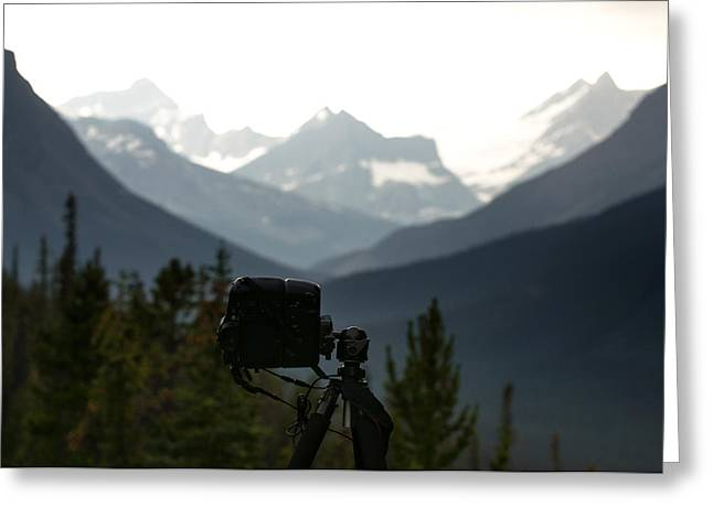 Behind The Scene Greeting Cards - Photographing the Tonquin Valley Greeting Card by Cale Best