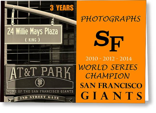 Sports Pyrography Greeting Cards - Photographs SF Giants Greeting Card by DUG Harpster