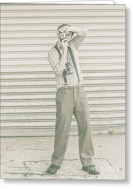 Suspenders Greeting Cards - Photojournalist with a retro camera Greeting Card by Ryan Jorgensen
