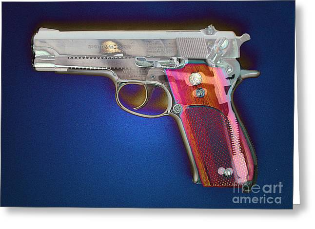 Terrorism Greeting Cards - Photomontage Of 9mm Gun Greeting Card by Scott Camazine
