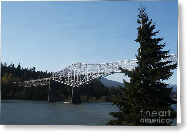 Photo-realism Mixed Media Greeting Cards - PhotoRealistic Bridge of The Gods Greeting Card by Scott Laffin