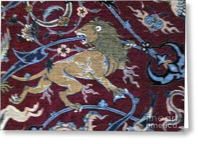 Carpet Tapestries - Textiles Greeting Cards - Photos of Persian Antique Rugs Kilims Carpets Lion Greeting Card by Persian Art
