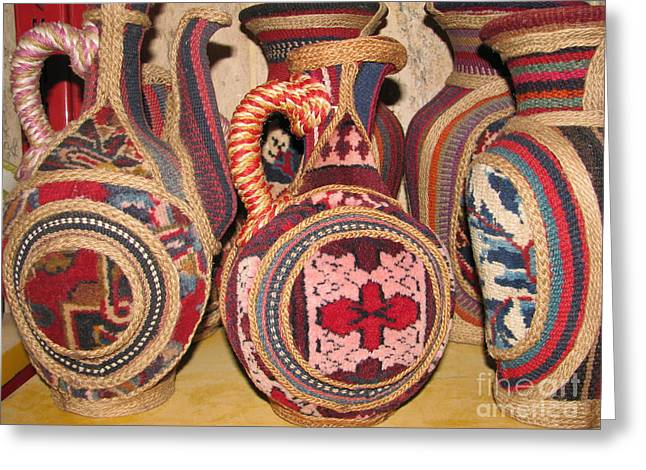 Symbol Ceramics Greeting Cards - Photos of Persian vase made of Antique Rug  Kilim  Jajim and Hemp Greeting Card by Persian Art