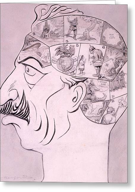 Racism Drawings Greeting Cards - Phrenological Chart Of The German Greeting Card by Oliver Herford