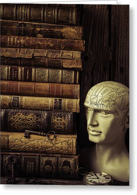 Amalgamation Greeting Cards - Phrenology Head And Old Books Greeting Card by Garry Gay