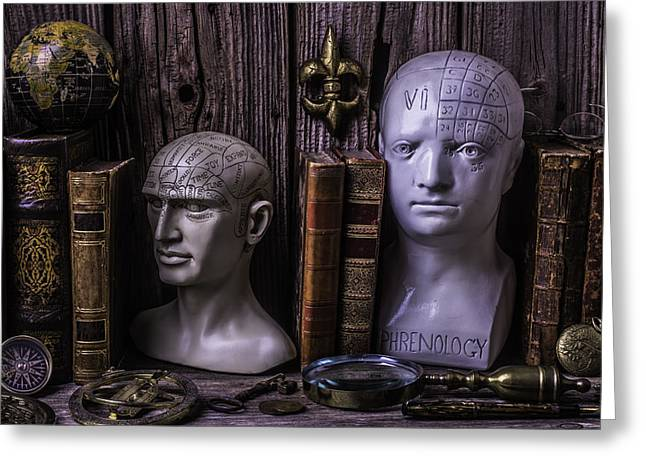 Library Greeting Cards - Phrenology Still Life Greeting Card by Garry Gay