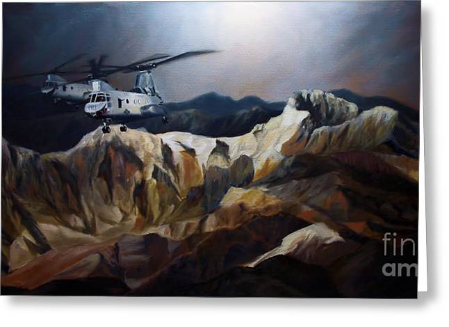 Ch-46 Greeting Cards - Phrogs Over Afghanistan Greeting Card by Stephen Roberson