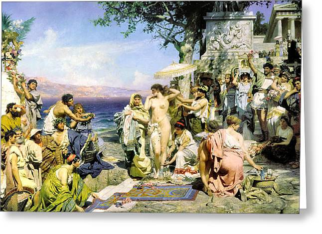 Henryk Greeting Cards - Phryne at the Festival of Poseidon in Eleusin Greeting Card by Henryk Siemiradzki