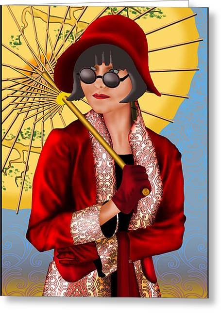 Intrigue Drawings Greeting Cards - Phryne Greeting Card by Troy Brown