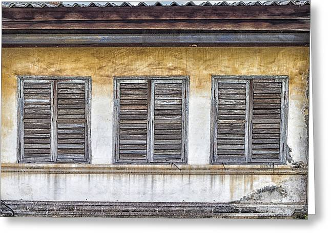 Wooden Shutter Greeting Cards - Phuket Windows - Six Greeting Card by Nomad Art And  Design