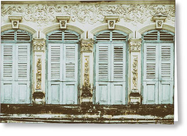 Symetrical Greeting Cards - Phuket Windows - Three Greeting Card by Nomad Art And  Design