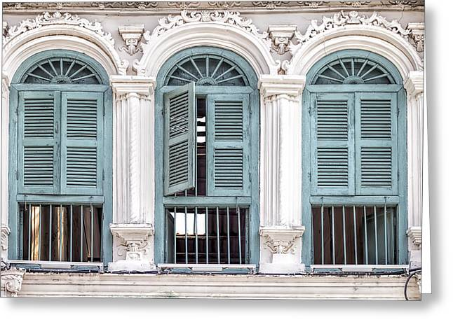 Symetrical Greeting Cards - Phuket Windows - One Greeting Card by Nomad Art And  Design