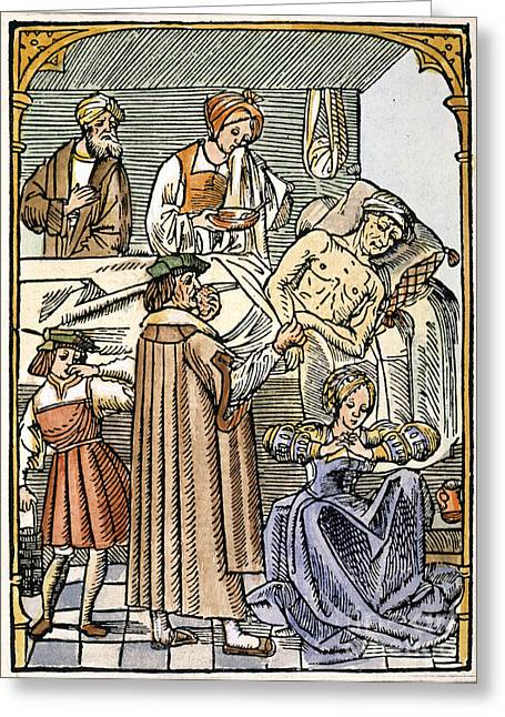 Vinegar Greeting Cards - Physician & Plague Victim Greeting Card by Granger