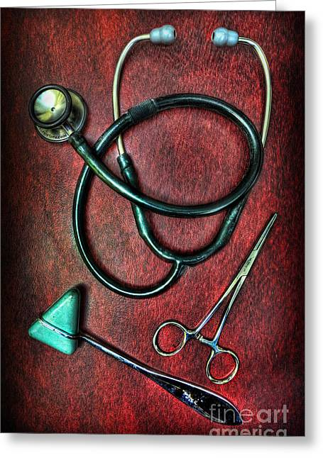 Md Greeting Cards - Physicians Tools  Greeting Card by Lee Dos Santos