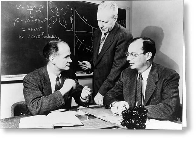 Physicists Brattain, Bardeen and Greeting Card by Science Photo Library
