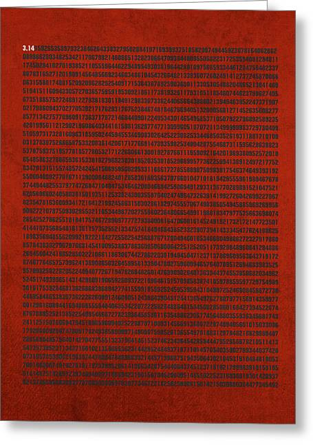 Pis Greeting Cards - Pi Number Thousands of Digits Cool Math Poster Art Greeting Card by Design Turnpike