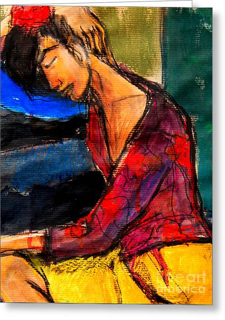Red Skirt Greeting Cards - Pia #3 - detail - figure series Greeting Card by Mona Edulesco