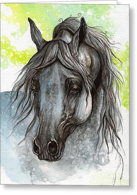 Piaff Polish Arabian Horse Watercolor  Painting 1 Greeting Card by Angel  Tarantella
