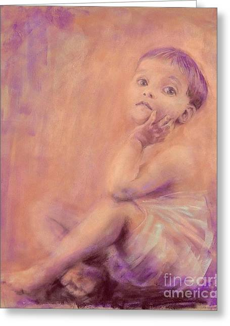 Pensive Pastels Greeting Cards - Piano Baby Greeting Card by Cynthia Pierson