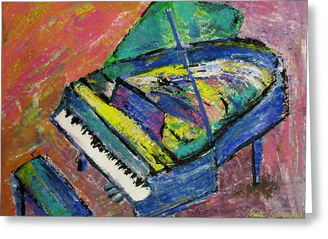 Piano Blue Greeting Card by Anita Burgermeister