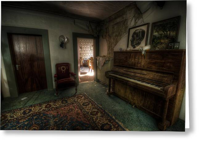 Haunted House Digital Greeting Cards - Piano corner Greeting Card by Nathan Wright