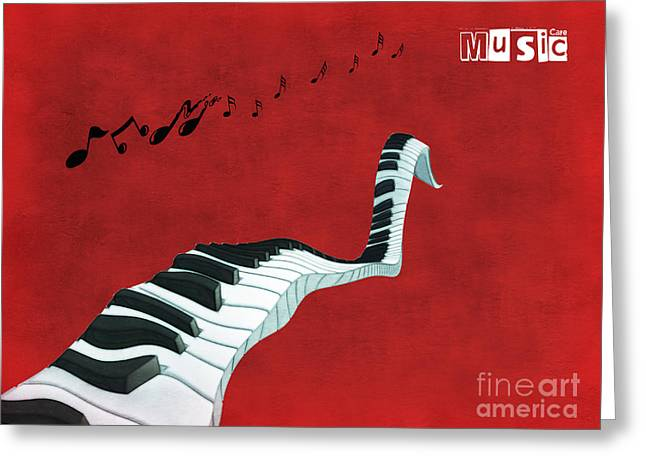 Surrealist Greeting Cards - Piano Fun - s01at01 Greeting Card by Variance Collections