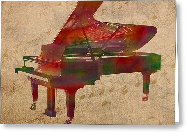 Instrument Mixed Media Greeting Cards - Piano Instrument Watercolor Portrait With Sheet Music Background On Worn Canvas Greeting Card by Design Turnpike