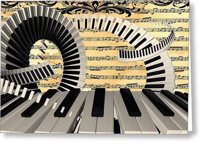 Abstract Art Prints Digital Art Greeting Cards - Piano Keys  Greeting Card by Louis Ferreira