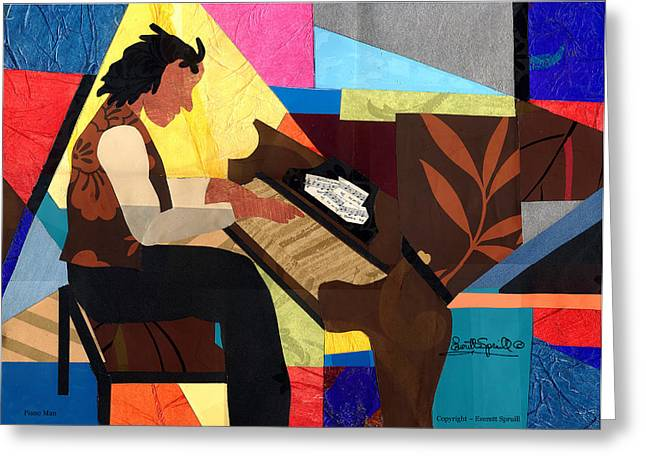 Best Sellers -  - Lino Greeting Cards - Piano Man 2012 Greeting Card by Everett Spruill