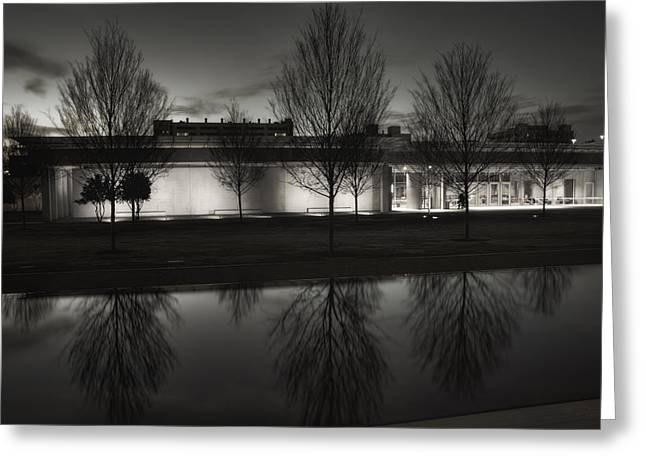 Piano Pavilion Bw Reflections Greeting Card by Joan Carroll