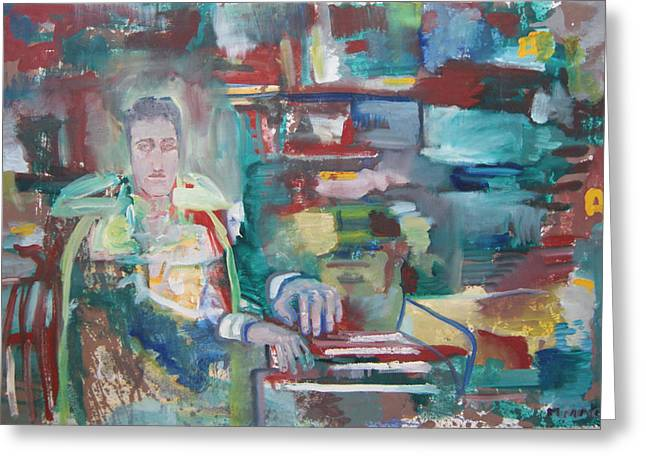 Noise . Sounds Mixed Media Greeting Cards - Piano Player Greeting Card by Michael MacNeill