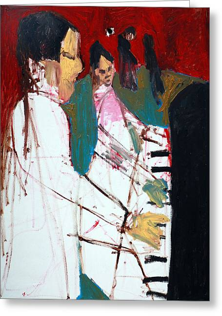 Dance Floor Paintings Greeting Cards - Piano Players Greeting Card by Anon Artist