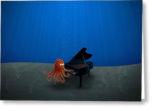 Piano Digital Art Greeting Cards - Piano Playing Octopus Greeting Card by Gianfranco Weiss
